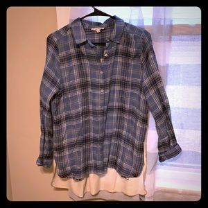 Flannel Blouse with Back Detailing